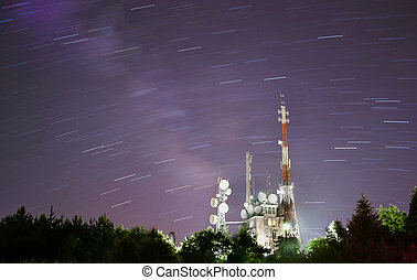 telecommunication tower and night sky background
