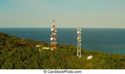 Telecommunication tower, communication antenna in asia -...