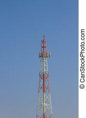 Telecommunication tower on blue sky