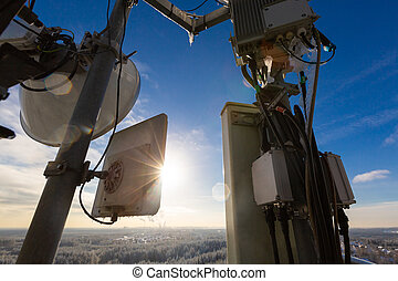 Telecommunication tower or mast with microwave, radio panel ...