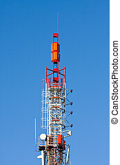 Telecommunication tower with blue sky