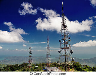 Telecommunication towers on the top of mountain -...