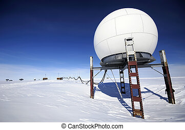 Antarctic research station - Telecommunication unit of...