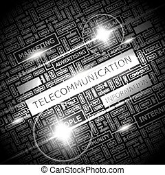 TELECOMMUNICATION. Word cloud illustration. Tag cloud...