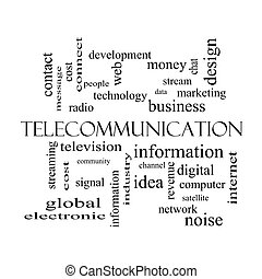 Telecommunication Word Cloud Concept in black and white