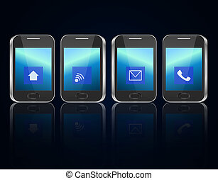 Telecommunications concept. - Illustration depicting four...