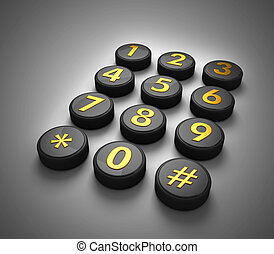 Telephone contact number button in dark gradient background 3d illustration