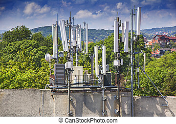 Telecommunications equipment, mobile phone antennas in the city