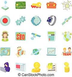 Telecommunications icons set, cartoon style