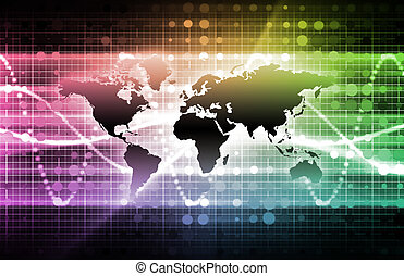 Telecommunications Industry with a Dark World Map