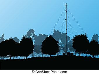 Telecommunications mobile phone base station radio tower with engineers in industrial concept background vector