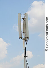 Telecommunications pole with blue sky