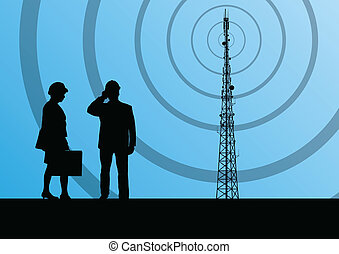 Telecommunications radio tower or mobile phone base station with engineers in concept background