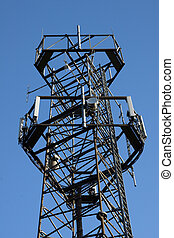 Telecommunications repeater tower close in view