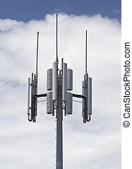 Telecommunications - Transmitter over blue sky for mobile...
