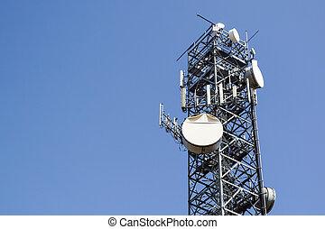 Telecommunications tower . antenna Mobile phone base station