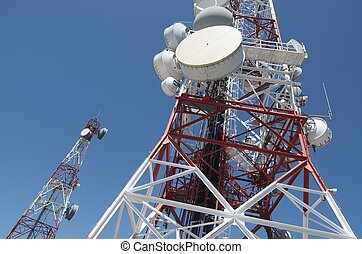 Telecommunications tower - bottom view of a...