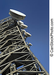 telecommunications tower in a full blue sky