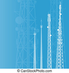 Telecommunications tower, radio or mobile phone base station vector background