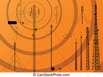 Telecommunications tower, radio, television and mobile phone base station collection vector background
