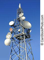 telecommunications pylon in a serene blue sky