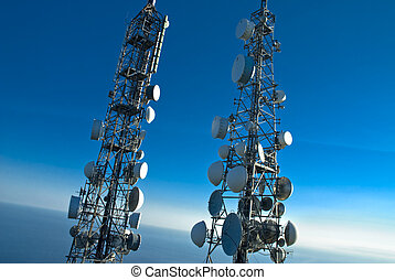 telecommunications towers - telecommunications pylons with...