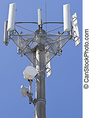 Telecommunications - Transmitter over blue sky for mobile...