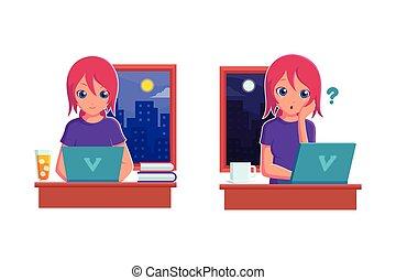 telecommuting, 概念, 矢量, 插圖, 工作, 家