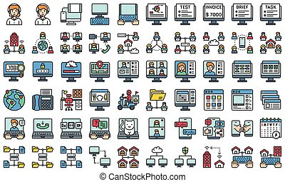 Telecommuting or remote work filled icon set, vector illustration