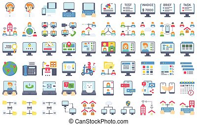 Telecommuting or remote work flat icon set, vector illustration