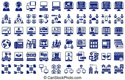Telecommuting or remote work solid icon set, vector illustration