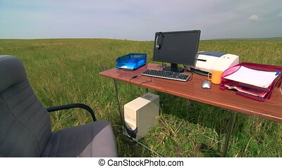 Telecommuting remote office in a green field