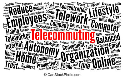 Telecommuting word cloud concept