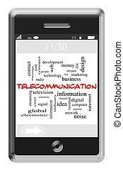 telecomunicação, palavra, nuvem, conceito, ligado, touchscreen, telefone