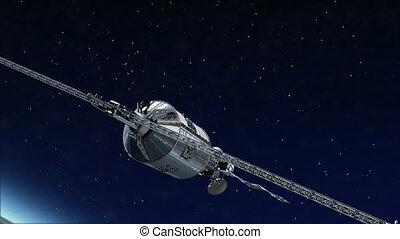 telecomunicação, satélite, voando