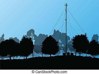telecomunicações, telefone móvel posto básico, torre rádio,...
