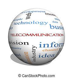 telecomunicación, 3d, esfera, palabra, nube, concepto