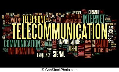telecomunicación, concepto, en, palabra, etiqueta, nube