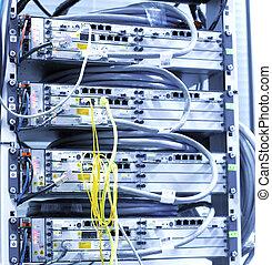 telecomunicación, equipo, de, red, cables.