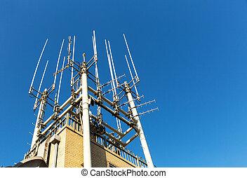 telecomunicación, equipo, primer plano, techo