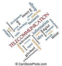 telecomunicación, palabra, nube, concepto, angular
