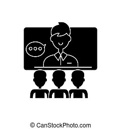 Teleconference black icon, vector sign on isolated...