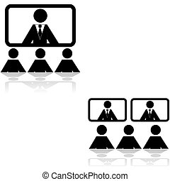 Teleconference icons - Icon set showing two different...