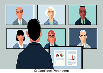 Teleconference in business - Businessman conducting a...