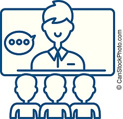 Teleconference line icon concept. Teleconference flat vector...