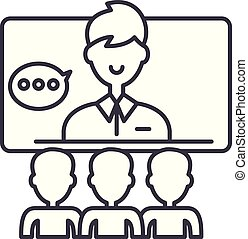 Teleconference line icon concept. Teleconference vector...