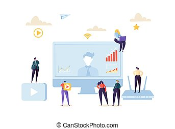 Teleconference Online Communication Concept. Business People...