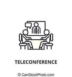 teleconference thin line icon, sign, symbol, illustation,...