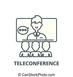 Teleconference vector line icon, linear concept, outline...