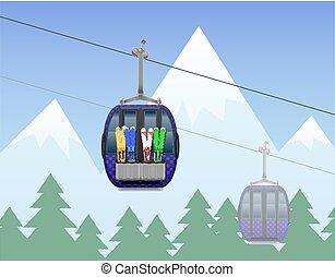 teleférico, montaña, ilustración, vector, cabaña, esquí, paisaje